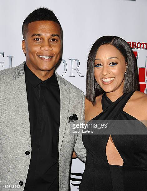 Actor Cory Hardrict and actress Tia Mowry attend the premiere of 'Brotherly Love' at SilverScreen Theater at the Pacific Design Center on April 13...