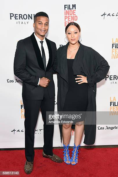 Actor Cory Hardrict and actress Tia Mowry attend the premiere of 'Destined' during the 2016 Los Angeles Film Festival at Arclight Cinemas Culver City...
