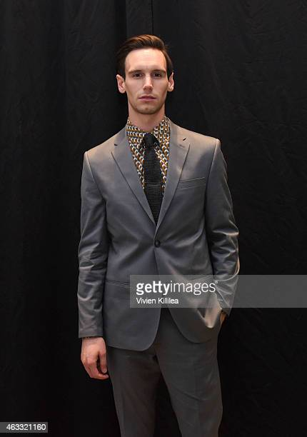 Actor Cory Michael Smith backstage at the Perry Ellis show during MercedesBenz Fashion Week Fall 2015 at Metropolitan West on February 12 2015 in New...