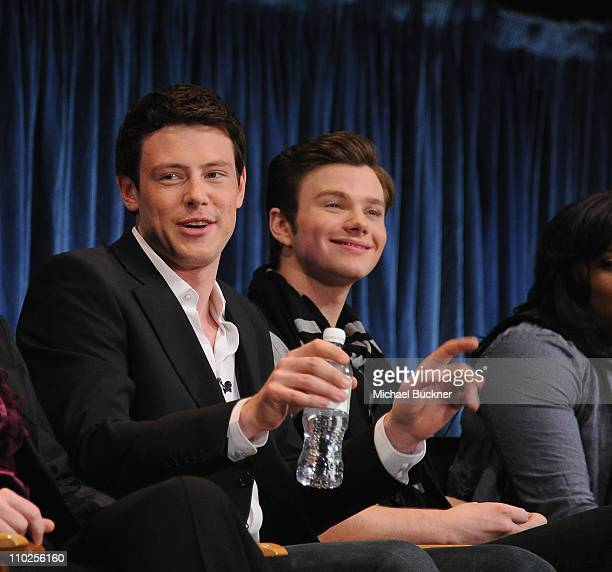Actor Cory Monteith and actor Chris Colfer attend at the Paley Center for Media's Paleyfest 2011 Event honoring Glee at the Saban Theatre on March 16...