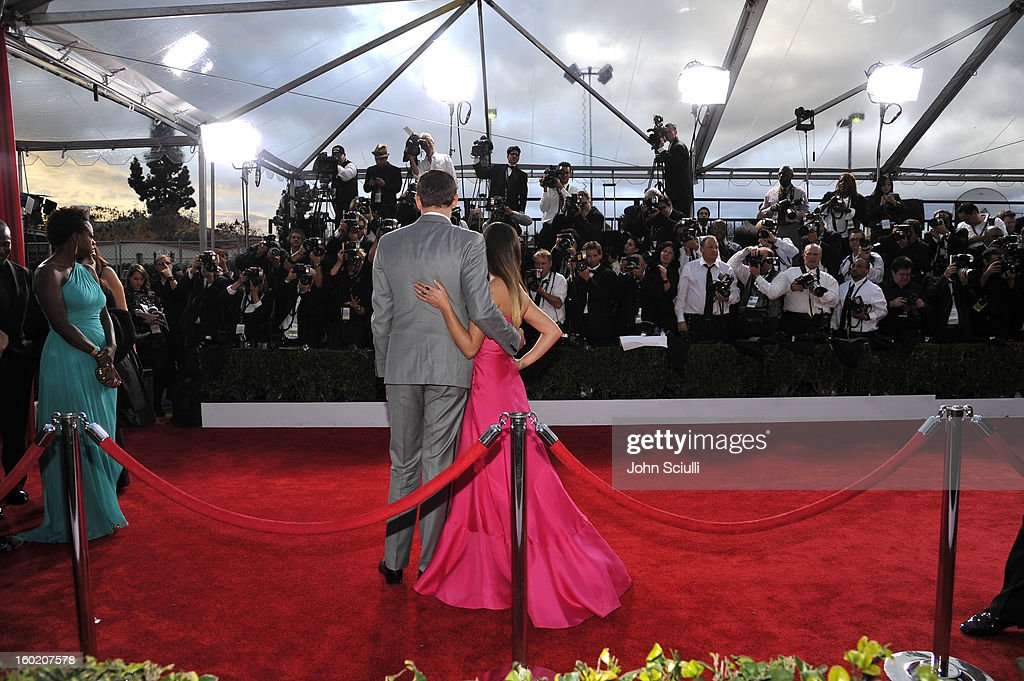 Actor Cory Monteith and Actress Lea Michele attend the 19th Annual Screen Actors Guild Awards at The Shrine Auditorium on January 27, 2013 in Los Angeles, California. (Photo by John Sciulli/WireImage) 23116_015_0971.JPG