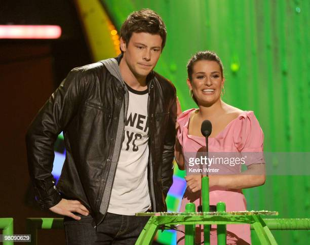 Actor Cory Monteith and actress Lea Michele present the Favorite TV Actor award onstage at Nickelodeon's 23rd Annual Kids' Choice Awards held at...