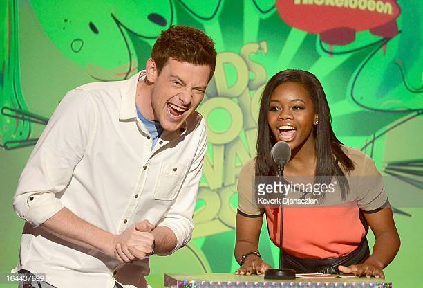 Actor Cory Monteith and Olympic gymnast Gabby Douglas speak onstage during Nickelodeon's 26th Annual Kids' Choice Awards at USC Galen Center on March...