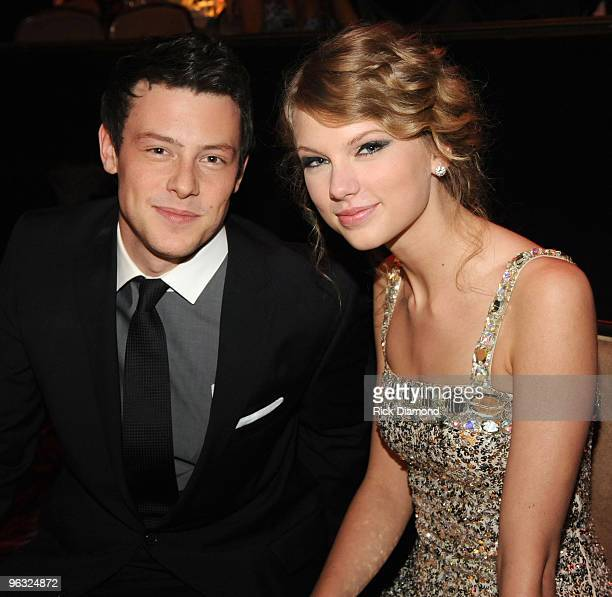 Actor Cory Monteith and singer Taylor Swift attend the 52nd Annual GRAMMY Awards - Salute To Icons Honoring Doug Morris held at The Beverly Hilton...