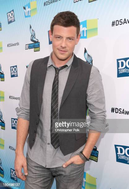 Actor Cory Monteith arrives at DoSomethingorg and VH1's 2012 Do Something Awards at Barker Hangar on August 19 2012 in Santa Monica California