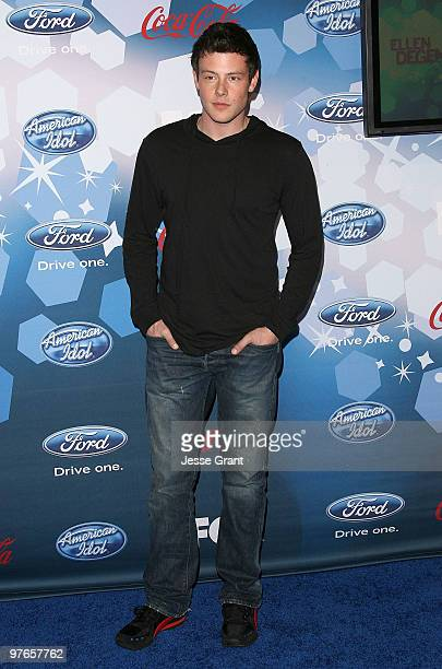 Actor Cory Monteith arrives at Fox's Meet The Top 12 'American Idol' Finalists at Industry on March 11 2010 in Los Angeles California