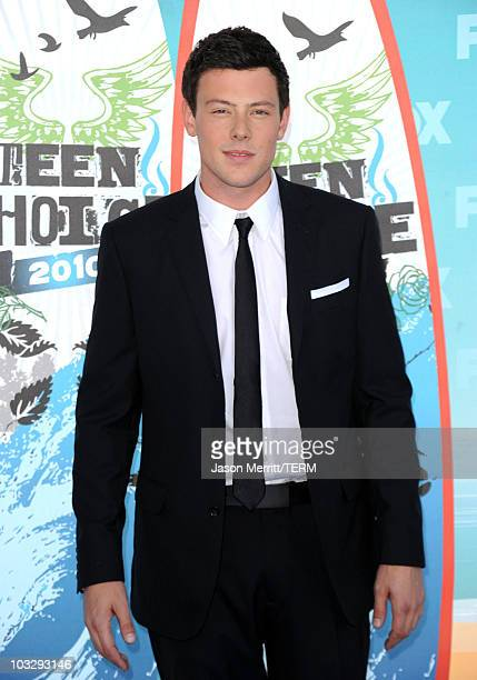 Actor Cory Monteith arrives at the 2010 Teen Choice Awards at Gibson Amphitheatre on August 8 2010 in Universal City California