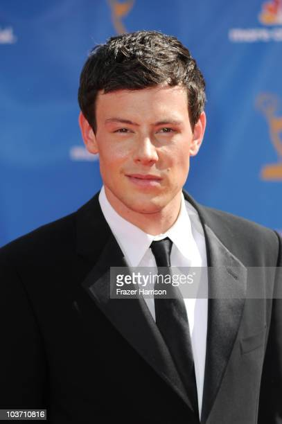 Actor Cory Monteith arrives at the 62nd Annual Primetime Emmy Awards held at the Nokia Theatre LA Live on August 29 2010 in Los Angeles California