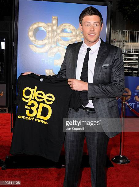 """Actor Cory Monteith arrives at the Los Angeles Premiere """"GLEE: The 3D Concert Movie"""" at Regency Village Theatre on August 6, 2011 in Westwood,..."""