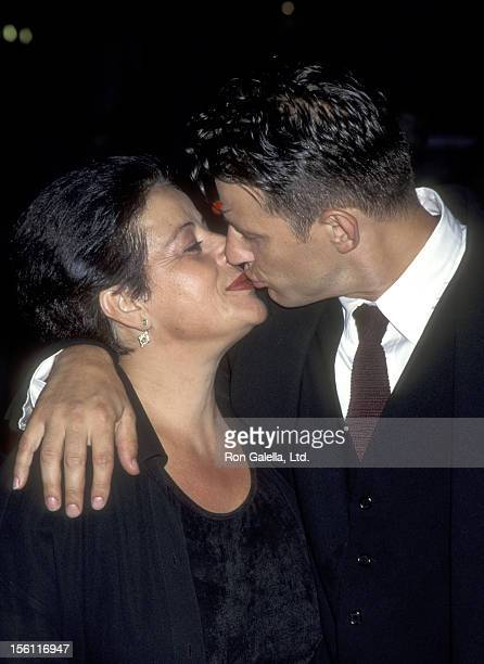 Actor Costas Mandylor and mother attend the 'Mortal Kombat' Hollywood Premiere on August 16, 1995 at Mann's Chinese Theatre in Hollywood, California.