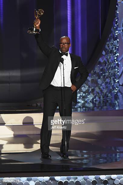 "Actor Courtney B. Vance accepts the award for Outstanding Lead Actor in a Limited Series or Movie for ""The People v. O. J. Simpson: American Crime..."