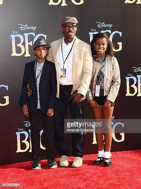 Actor Courtney B Vance and his children Slater Vance and Bronwyn Vance arrive at the premiere of Disney's The BFG at the El Capitan Theatre on June...