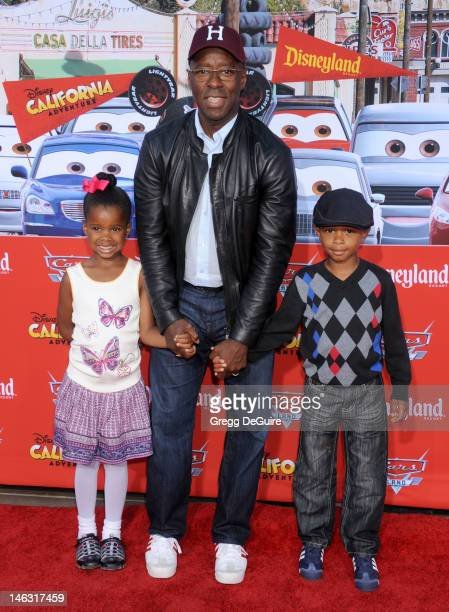 Actor Courtney B Vance daughter Bronwyn Vance and son Slater Vance arrive at Cars Land Grand Opening at Disney's California Adventure on June 13 2012...