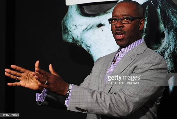 Actor Courtney B Vance gestures ahead of a Los Angeles Special Screening of the film 'Final Destination 5' on August 10 2011 in Hollywood Shot in 3D...