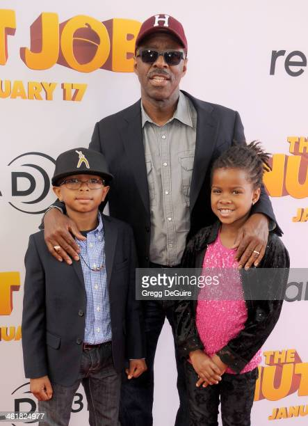 Actor Courtney B Vance son Slater Vance and daughter Bronwyn Vance arrive at the Los Angeles premiere of The Nut Job at Regal Cinemas LA Live on...