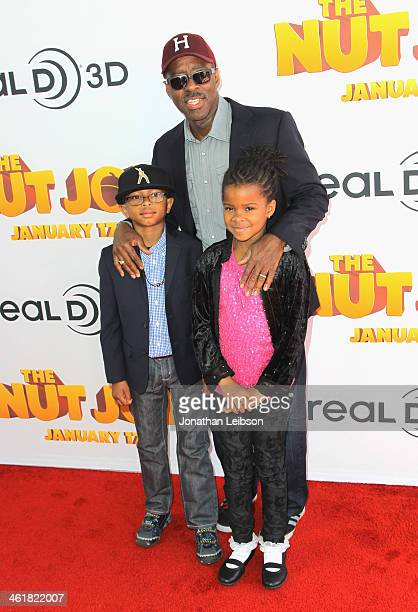 Actor Courtney B Vance with sons Bronwyn Vance and Slater Vance arrive at The Nut Job Los Angeles Premiere at Regal Cinemas LA Live on January 11...