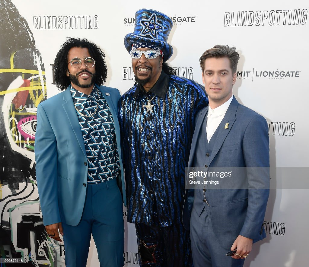Actor & Co-Writer Daveed Diggs, Musician Bootsy Collins and Actor & Co-Writer Rafael Casal attend the Premiere of Summit Entertainment's 'Blindspotting' at The Grand Lake Theater on July 11, 2018 in Oakland, California.