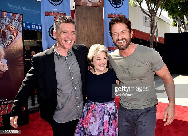 Actor Craig Ferguson producer Bonnie Arnold and actor Gerard Butler arrive at the premiere of Twentieth Century Fox and DreamWorks Animation 'How To...