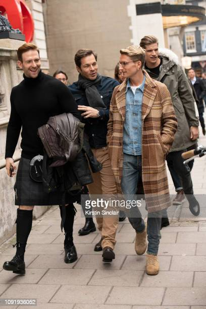 Actor Craig McGinlay Model Paul Sculfor Actor Oliver Proudlock Model Toby HuntingdonWhiteley during London Fashion Week Men's January 2019 on January...