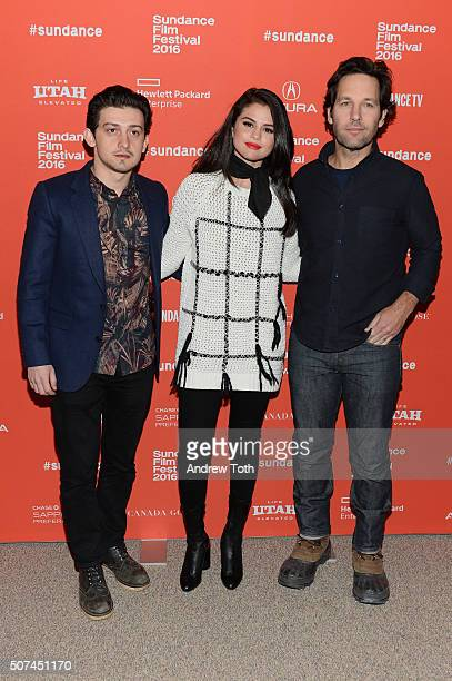Actor Craig Roberts singer Selena Gomez and actor Paul Rudd attend 'The Fundamentals Of Caring' Premiere during the 2016 Sundance Film Festival at...