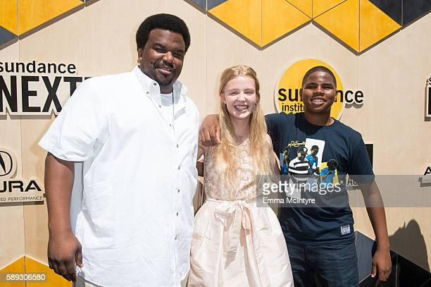 Actor Craig Robinson actress Lina Keller and actor Markees Christmas arrive at the Sundance Next Fest premiere of 'Morris From America' at The...