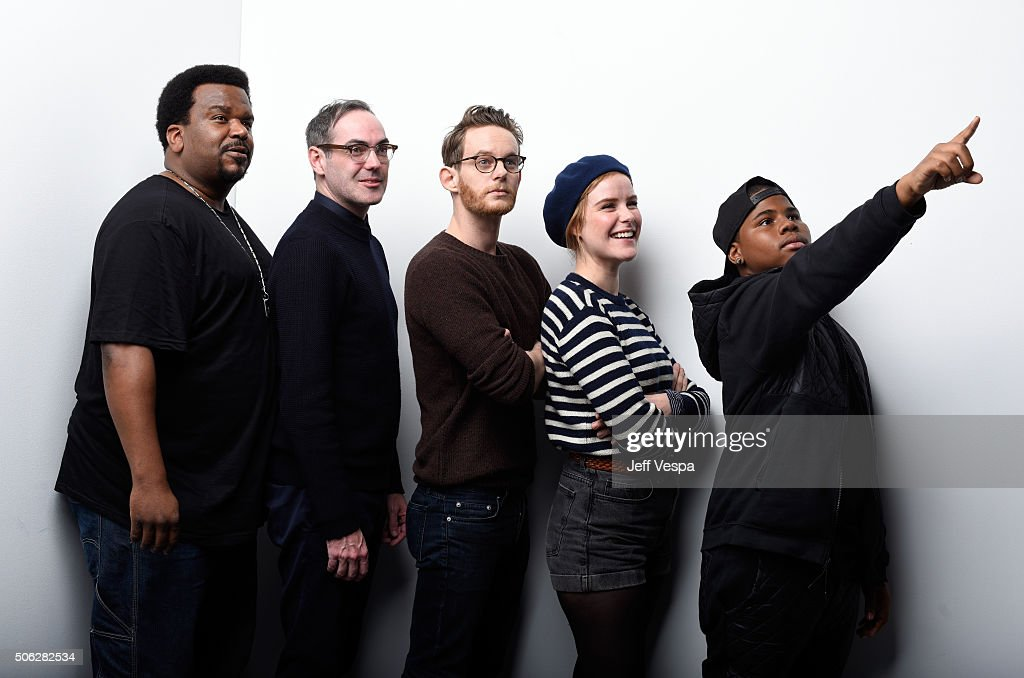 Actor Craig Robinson, director Chad Hartigan, actors Patrick Guldenberg, Carla Juri and Markees Christmas from the film 'Morris from America' pose for a portrait during the WireImage Portrait Studio hosted by Eddie Bauer at Village at The Lift on January 22, 2016 in Park City, Utah.