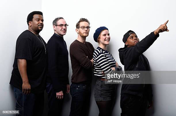 Actor Craig Robinson director Chad Hartigan actors Patrick Guldenberg Carla Juri and Markees Christmas from the film 'Morris from America' pose for a...