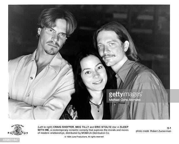 Actor Craig Sheffer actress Meg Tilly and Eric Stoltz pose on set of the movie Sleep with Me circa 1994