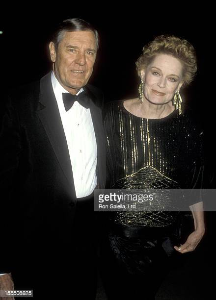 Actor Craig Stevens and actress Alexis Smith attend A Birthday Bash for Carol Burnett's 53rd Birthday on April 26 1986 at UCLA's Pauley Pavilion in...
