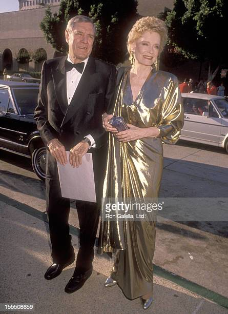 Actor Craig Stevens and actress Alexis Smith attend the 42nd Annual Primetime Emmy Awards on September 16 1990 at Pasadena Civic Auditorium in...