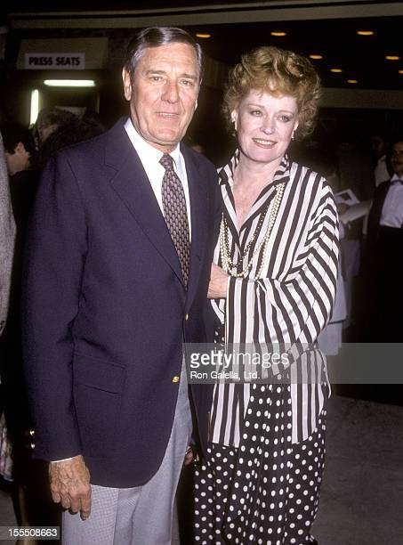 Actor Craig Stevens and actress Alexis Smith attend the Cloud Nine Opening Night Performance on May 8 1983 at the Los Angeles Stage Company West in...