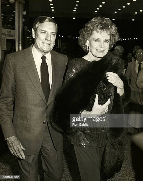 Actor Craig Stevens and actress Alexis Smith attend the opening of Sugar Babies on January 31 1984 at the Pantages Theater in Hollywood California