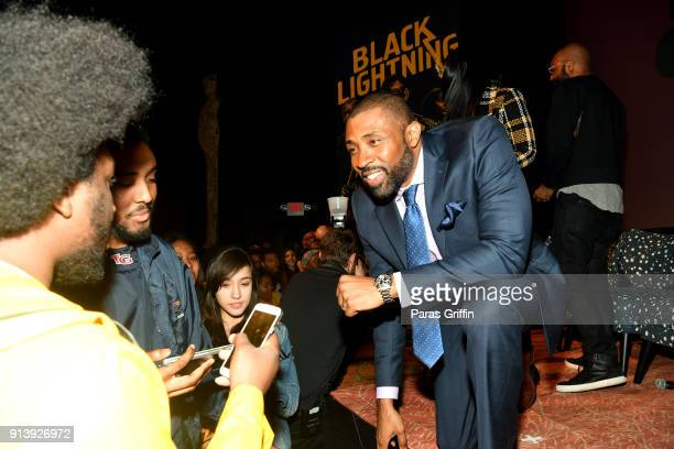Actor Cress Williams speaks to fans during a screening and Q&A for 'Black Lightning' on Day 3 of the SCAD aTVfest 2018 on February 3, 2018 in...