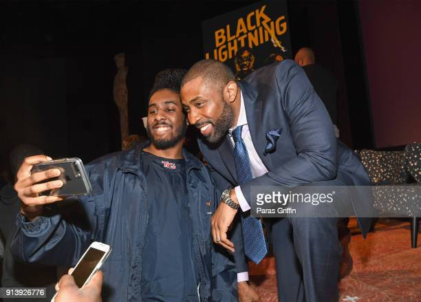 Actor Cress Williams takes a selfie with a fan during a screening and Q&A for 'Black Lightning' on Day 3 of the SCAD aTVfest 2018 on February 3, 2018...