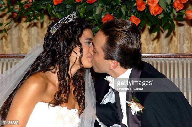 Actor Cristian Castro and Valeria Lieberman celebrate their wedding at the Ritz Carlton July 31 2004 in Key Biscayne Florida