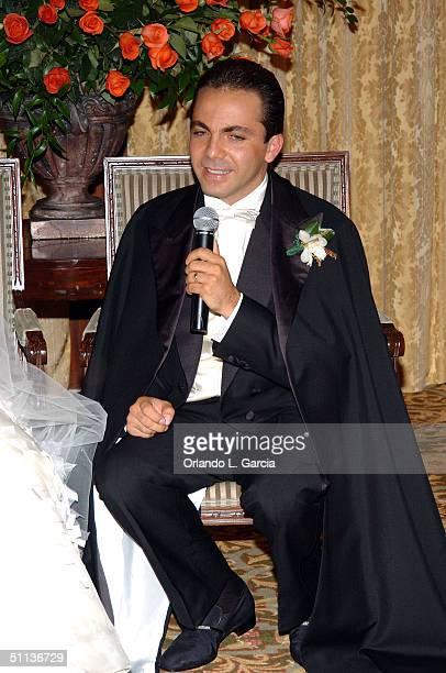 Actor Cristian Castro celebrates his wedding to Valeria Lieberman at the Ritz Carlton July 31 2004 in Key Biscayne Florida