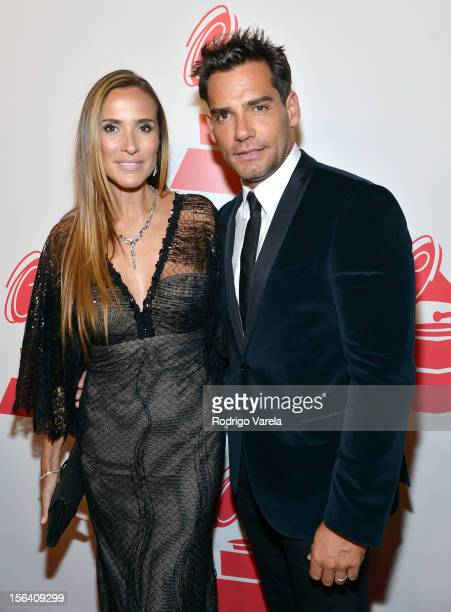 Actor Cristian de la Fuente and Angelica Castro arrive at the 2012 Person of the Year honoring Caetano Veloso at the MGM Grand Garden Arena on...