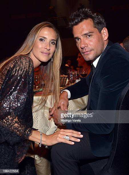 Actor Cristian de la Fuente and Angelica Castro during the 2012 Person of the Year honoring Caetano Veloso at the MGM Grand Garden Arena on November...