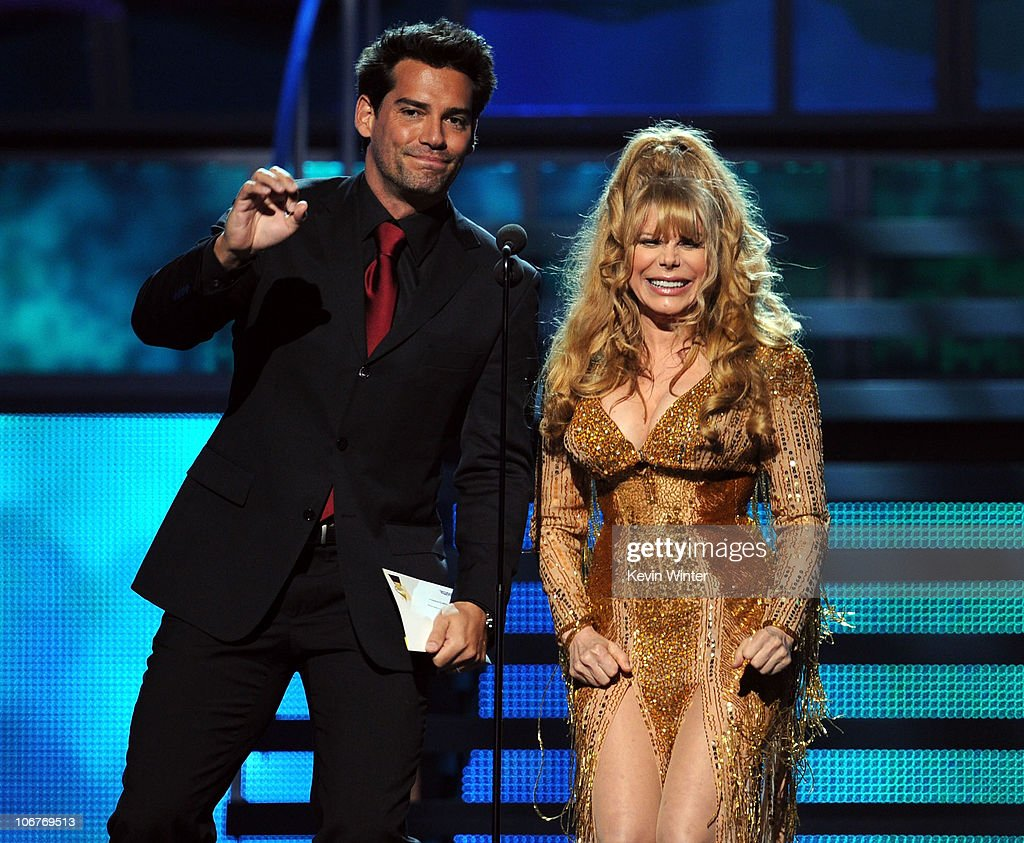 Actor Cristian De La Fuente (L) and singer Charo present an award onstage during the 11th annual Latin GRAMMY Awards at the Mandalay Bay Events Center on November 11, 2010 in Las Vegas, Nevada.