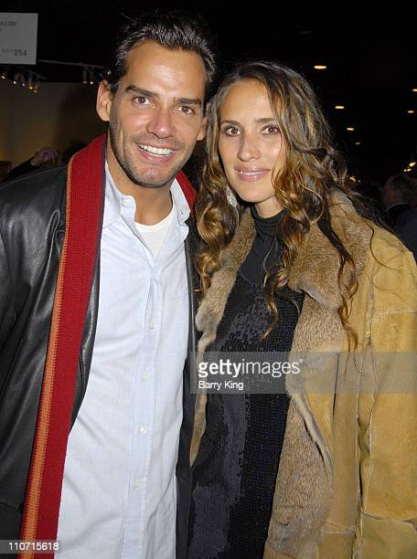 Actor Cristian de la Fuente and wife Angelica Castro attend the LA Art Show hosted by Venice Magazine held at Barker Hanger on January 23 2008 in...