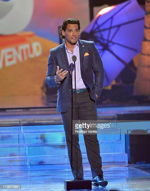 Actor Cristian de la Fuente speaks onstage during the Premios Juventud 2013 at Bank United Center on July 18 2013 in Miami Florida