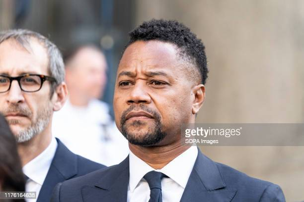 Actor Cuba Gooding Jr. Listens as attorney Mark Heller addresses press after arraignment in Manhattan's New York State Supreme Court. Actor Cuba...