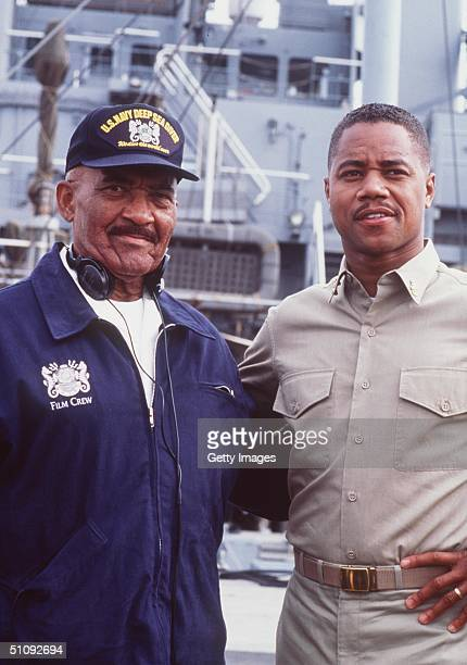 Actor Cuba Gooding Jr Portrayed As Carl Brashear Right Poses With The Real Life Carl Brashear On The Set Of The Movie 'Men Of Honor' November 5 2000