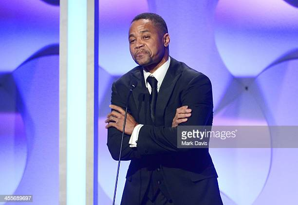 Actor Cuba Gooding Jr speaks onstage during the 27th American Cinematheque Award honoring Jerry Bruckheimer at The Beverly Hilton Hotel on December...