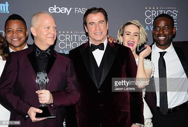 Actor Cuba Gooding Jr writer/producer Ryan Murphy actors John Travolta Sarah Paulson and Sterling K Brown winners of Best Movie/Miniseries for 'The...