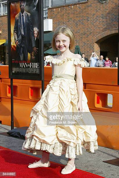 Actor Dakota Fanning attends the film premiere of 'Man on Fire' at the Mann National Theater on April 18 2004 in Westwood California