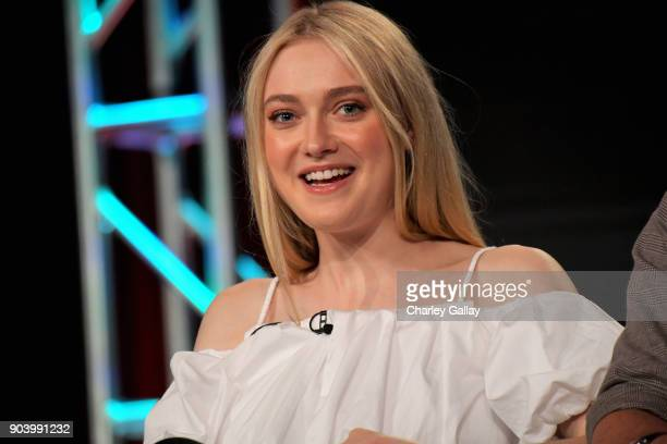 Actor Dakota Fanning of 'The Alienist' speaks onstage during the TNT portion of the TCA Turner Winter Press Tour 2018 Presentation at The Langham...