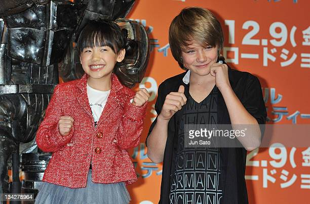 """Actor Dakota Goyo and actress Mana Ashida attend the """"Real Steel"""" press conference on November 30, 2011 in Tokyo, Japan. The film opens on December 9..."""