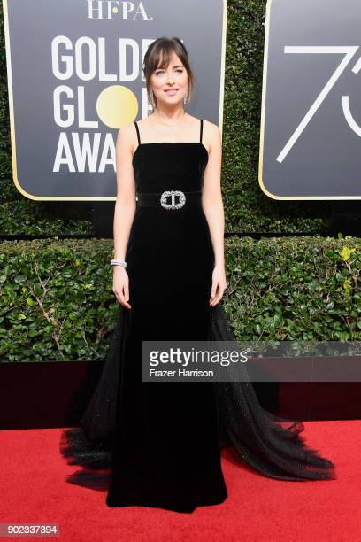 Actor Dakota Johnson attends The 75th Annual Golden Globe Awards at The Beverly Hilton Hotel on January 7 2018 in Beverly Hills California