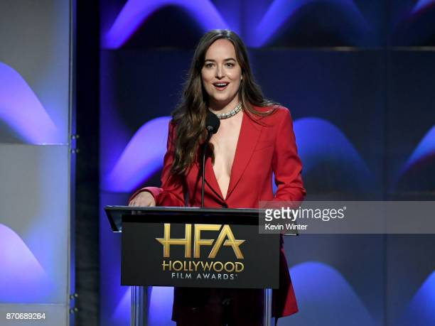 Actor Dakota Johnson speaks onstage during the 21st Annual Hollywood Film Awards at The Beverly Hilton Hotel on November 5 2017 in Beverly Hills...
